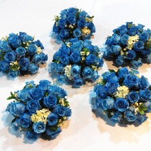 High quality blue wedding bouquet rose flower indian wedding table decorations