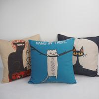 Custom cat design printed Non-toxic cotton/linen cushion cover wholesale