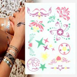 Tattoos Designs For Free Glitter Metallic Temporary Flash Crown Tattoos Mikey Paper Bag