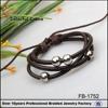 China fashion jewelry wholesale black wax leather cord bead bracelet