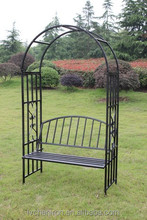 Black Metal Garden Arch With Seat, Square Steel Tube designed,Powder Coated and Frosted