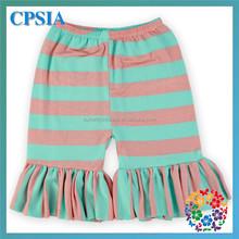 Fashion Cute Summer Coral Aqua Striped Baby Girl Knitted Shorts Wholesale Girls Ruffle Hot Shorts