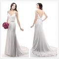 simple chifón vestido de novia, envoltura manga cap con volantes abalorios de cristal rhinestone cinturón para vestido de novia