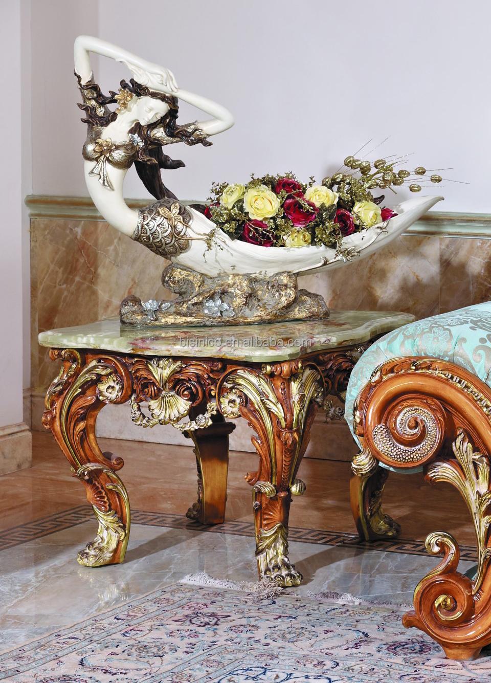 Luxe victorian houtsnijwerk koffie tafel met marmeren blad ...