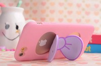 3D Cute Lovely Butterfly Bow Stand Holder Case For Iphone 5 5S 6 6 Plus Cell Phone Cover Case