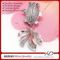 XD P784 Goldfish Design 925 Sterling Silver Pendants CZ Jewelry