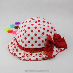 New kids baby girls ruffles bucket hat Polka Dots sun hat with bow ribbon