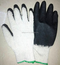 Small cheap black latex rubber palm coated safety work gloves