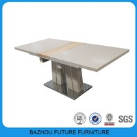 alibaba express MDF dining table extendable used dining room furniture