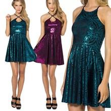Wholesale Stylish Lady Women Sexy O-Neck Sleeveless Club Party Mini Pleated Dresses SV017047
