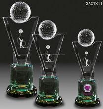 3D laser figurine crystal golf trophy