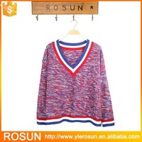 V-neck design loose women sweater colorful pullover acrylic knitwear