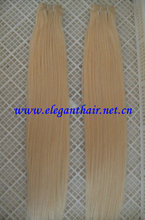 wholesale price top quality grade 5A,silk straight,blnde color 55 cm human hair weft
