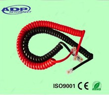 Black and red 4Cores Cu/CCA RJ11 6P4C Spiral Telephone Cable