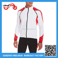 2015 New Designed Men's Waterproof Breathable White Reflective Cycling Jacket with Detachable Sleeves