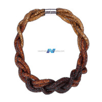 European and American Style Fashion Women Lady's Big Handmade Rope Chain Knitted Choker Necklaces Pendant