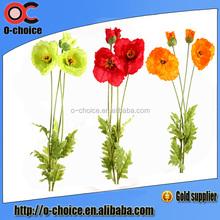 New arrival Decorative 4 head artificial poppy flower wholesale