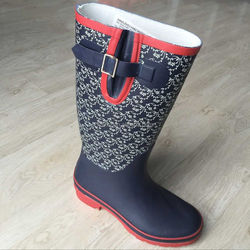 new style splicing navy blue women high quality rubber rain boot