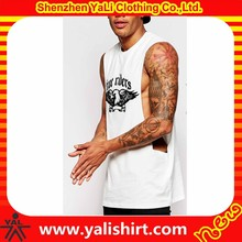 Extreme dropped armhole dry fit custom 100%cotton printing gym sleeveless t-shirts for men