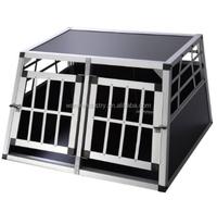 Hot Folding Double Door Dog Box Transport Aluminum Dog Rabbit Cage