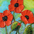 Facotry prix haute qualité personnalisé accepté couteau peinture à l'huile Poppy sur toile pour la décoration