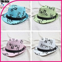"The new fashion children's hat ""Hello"" English Performance hat Children's jazz cap hat"