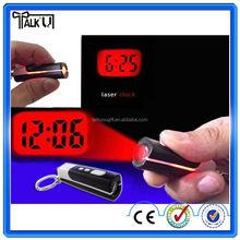 Mini digital led projector keychain clock, portable mini flashlight projector keychain clock