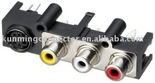 Multiple RCA Connector Pins Audio Jack Connector KM04077 series RoHS RCA with S Connector Vertical Socket TV Parts
