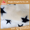 wholesale goods from China Beige white pentagram jacquard velour fabric solid long pile shaggy fur