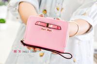 2015 PU fashion cross grain bowknot small change purse