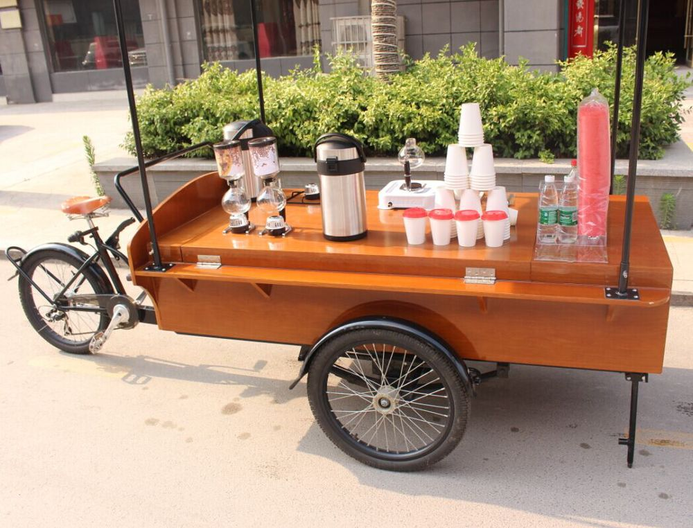 Electric mobile food carts coffee bike for sale for Motorized carts for sale