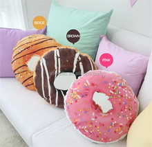 Plush multi usage nap neck support chair seat backrest cushion anti hemorrhoids ring shaped chocolate donut pillow