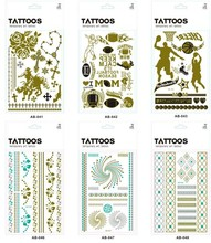 Nontoxic New Design Japanese Gold And Silver Foil Temporary Tattoo Stickers