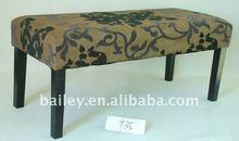 Cotton fabric indoor wooden bench