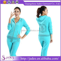 Latest design casual zipper up lady velour track sports suits