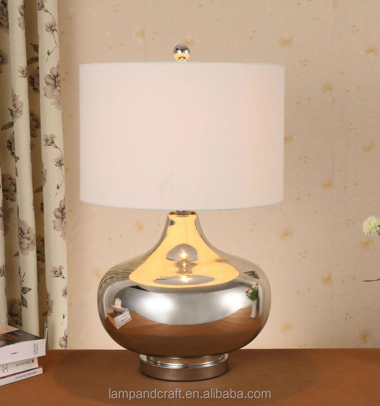 argento forma vasetto di vetro di zucca lampada da tavolo in vetro ...