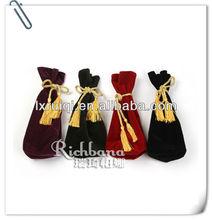 factory direct velvet wine bag with tassels sample free