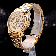 Famous Brand Watch Winner Skeleton Mechanical Hand Wind Mens Classic Carving Unisex Wrist Watch