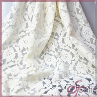 White flower applique designs embroidered fabric, elegant organza fabric for dress