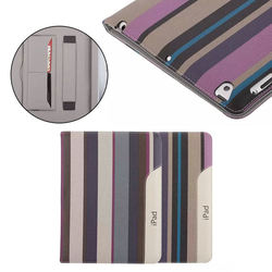 Stripe ultra thin wallet case for ipad 2/3/4, leather case with holder for ipad 2/3/4