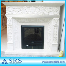 Pure white marble fireplace mantel with flower embossment