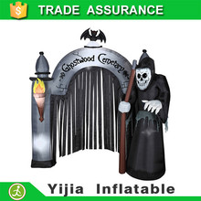 HALLOWEEN DECORATION YARD INFLATABLE AIRBLOWN REAPER CEMETERY ARCHWAY 7.2' TAL