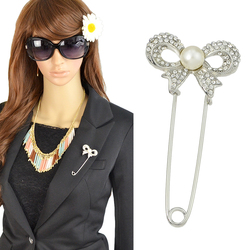 Cheap Wholesale Silver Plated Imitation Pearl Rhinestone Bow Tie Brooch Pin