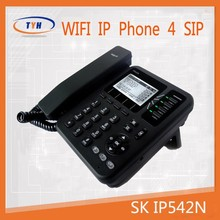 New IP542NP ip phone 4 line wifi voip phone with POE sip cordless , wifi sip desk phone