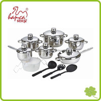 Stiainless steel cookware, New 15pcs Stainless Steel Cookware With Steamer and Kitchen tools