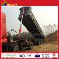 Rear Tipping Semi Trailer End Mining Dumper For Construction Material Transport