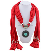 New style fashion Pendant jewelry scarf women round green stone charm pendant necklace scarves