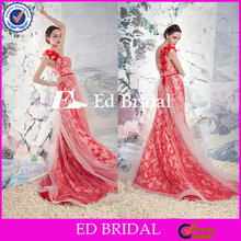 Latest Designs One Shoulder Mermaid Red Lace Wedding Dresses 2016 With Tulle Overskirt