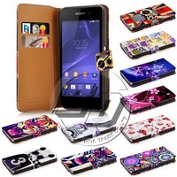 Hot selling wallet stand printed pu leather flip cover mobile phone case for sony xperia e3