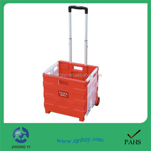 Folding Plastic Shopping Box Trolley on Wheels
